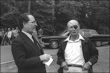 Moshe Dayan and Hassan Tuhami at Camp David in September 1978