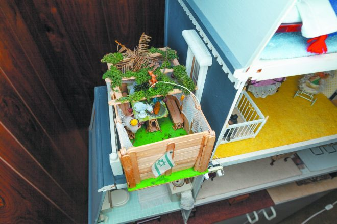 Blatt adds a sukkah to her dollhouse — and other holiday traditions — as the calendar progresses.