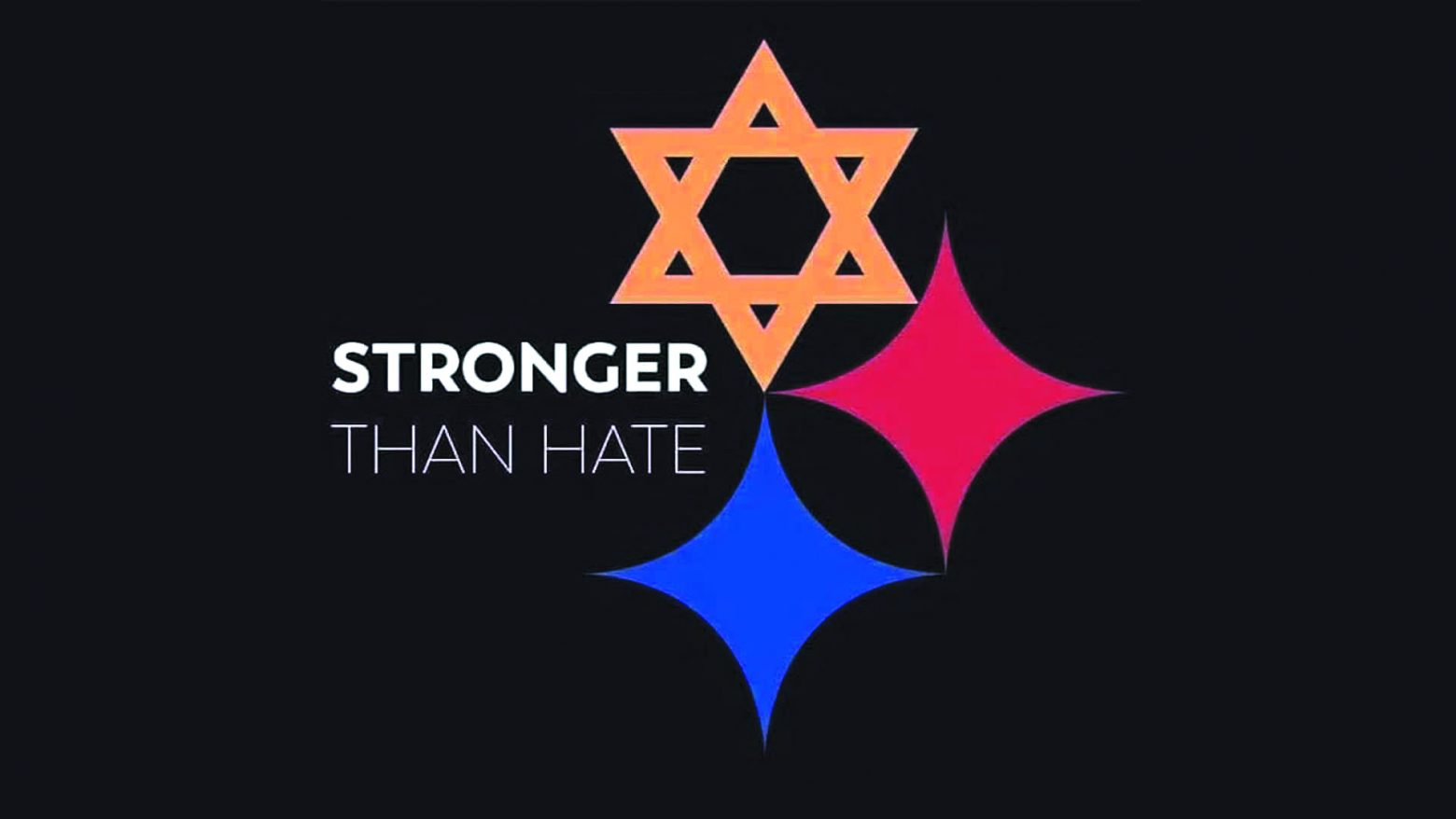 """Stronger than hate"" with a star of david and two rhombus stars to imitate the Pittsburgh Steelers logo"