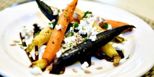 Roasted Heirloom Carrots, served with goat cheese and a balsamic vinegar drizzle