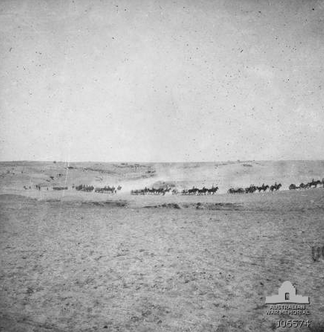 Australian 4th Light Horse Brigade advancing on Beersheba where Turkish defenders were.