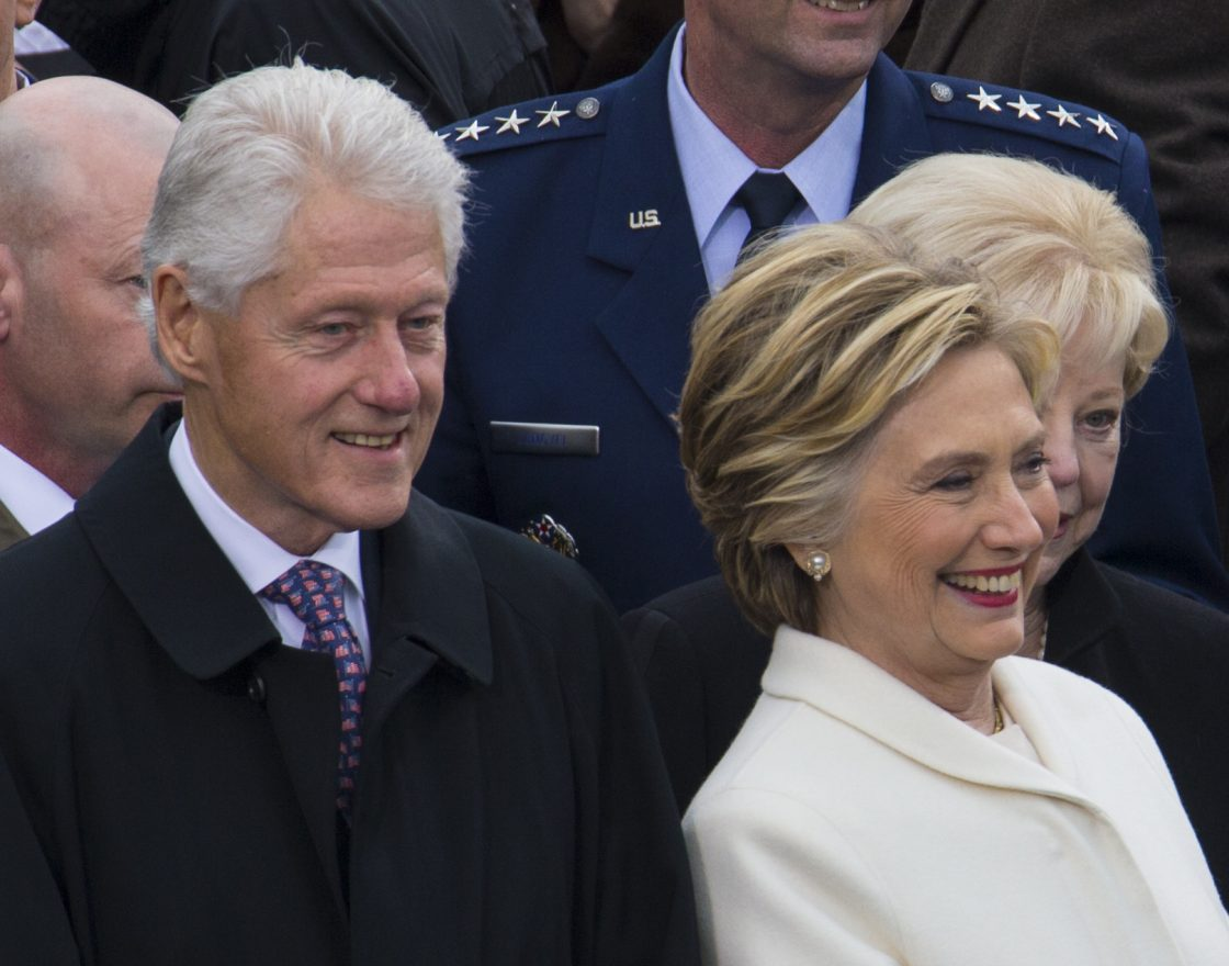 The 42nd President of the United States Bill J. Clinton and his wife former first lady Hillary Clinton attend the 58th Presidential Inauguration at the U.S. Capitol Building, Washington, D.C., Jan. 20, 2017. More than 5,000 military members from across all branches of the armed forces of the United States, including Reserve and National Guard components, provided ceremonial support and Defense Support of Civil Authorities during the inaugural period. (DoD photo by U.S. Marine Corps Lance Cpl. Cristian L. Ricardo)
