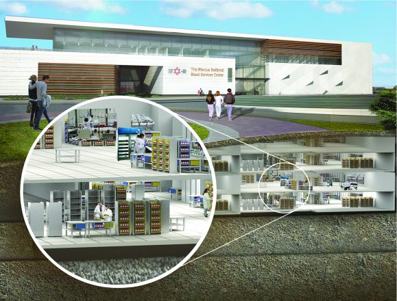 A rendering of the Marcus National Blood Services Center