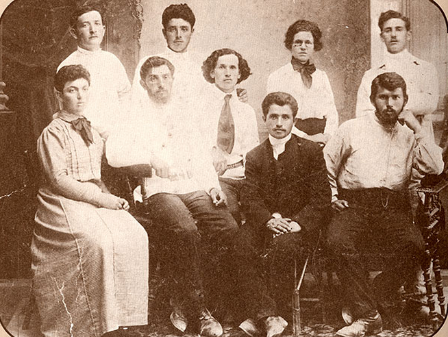 "A group known as the ""Hadera Commune"" shown in 1910 before sedding in Degania Alef, the first of the Kibbutz in Israel."