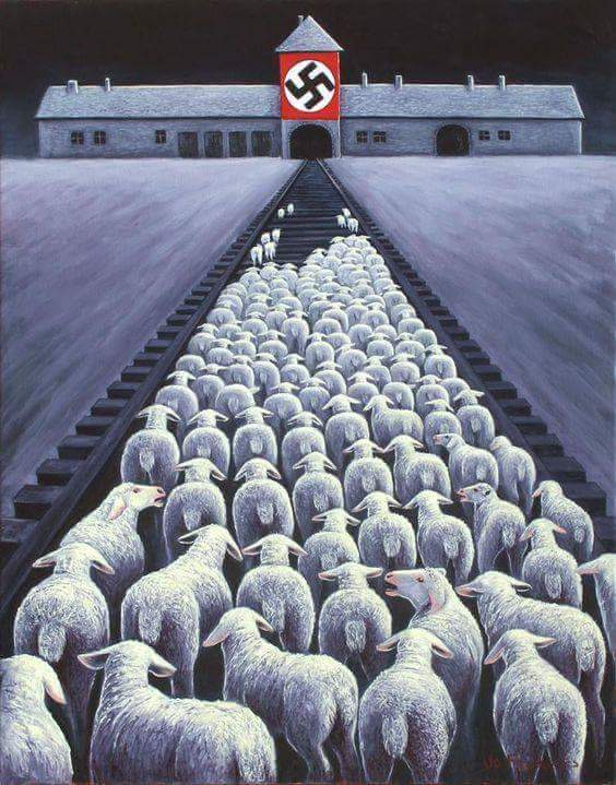 Some vegans are using Holocaust imagery to compare the slaughter of animals, like this illustration of sheep on railroad tracks heading toward a building that looks like Auschwitz and has a swastika on the building. .