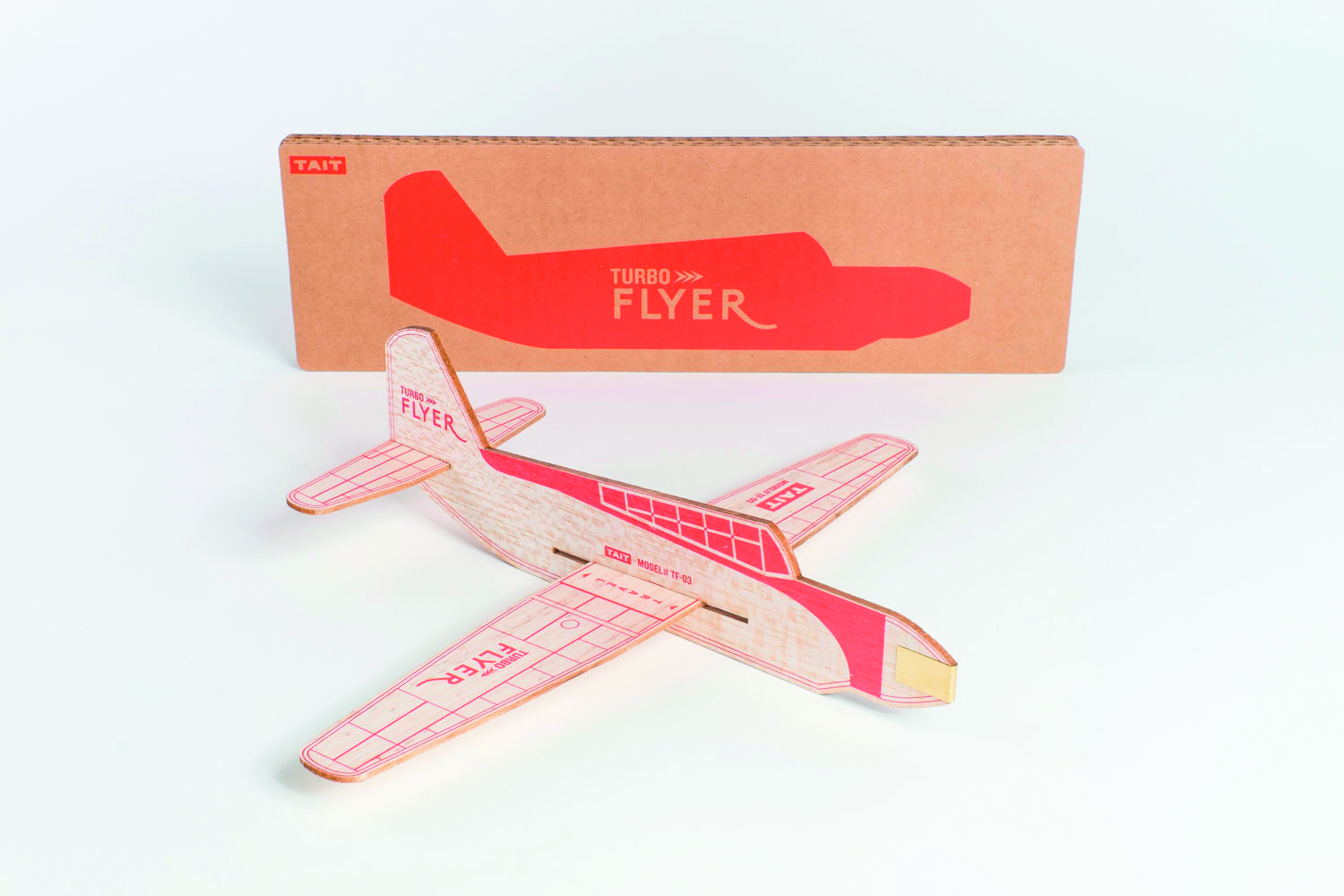 The collectible, easy-to-build TAIT Turbo Flyer is made of balsa — thicker wood and better aerodynamics than the ones we had as kids.