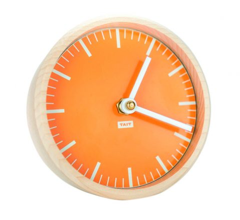 The Desk Clock is crafted of solid maple with a hand-painted face.
