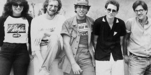 At Hart Plaza: Jacobs (second from left and above) and Oak Park-native Marshall Crenshaw (second from right).