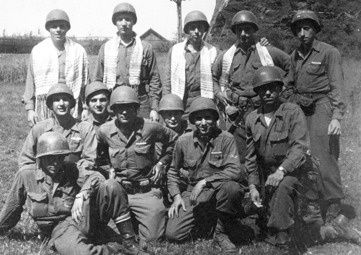 Jewish GI members smile for the camera in World War II photo