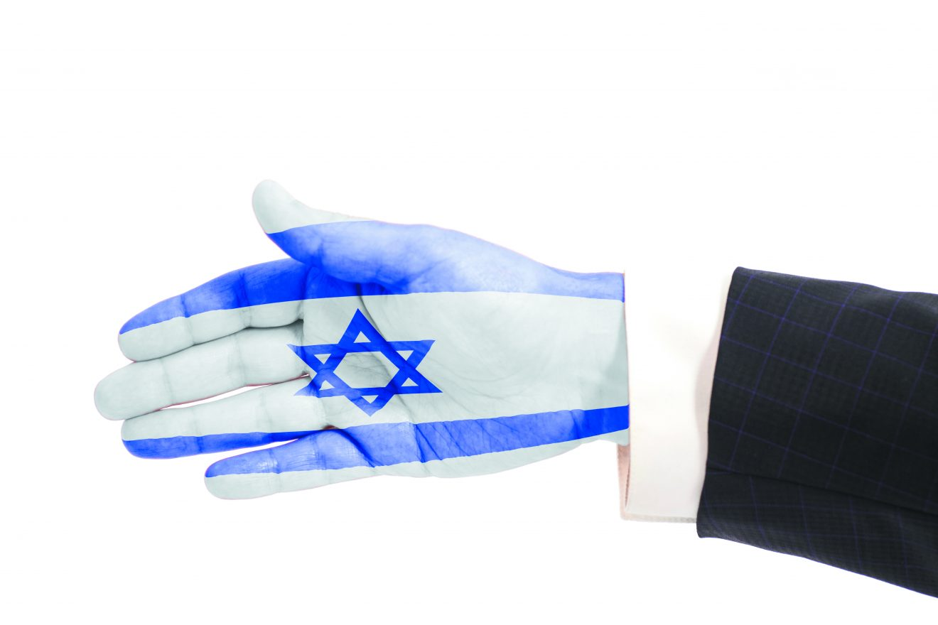 Handshake gesture businessman hand with Israel flag isolated on white background
