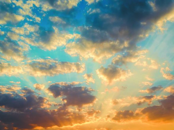 Beautiful sunset and sunrise sky with clouds