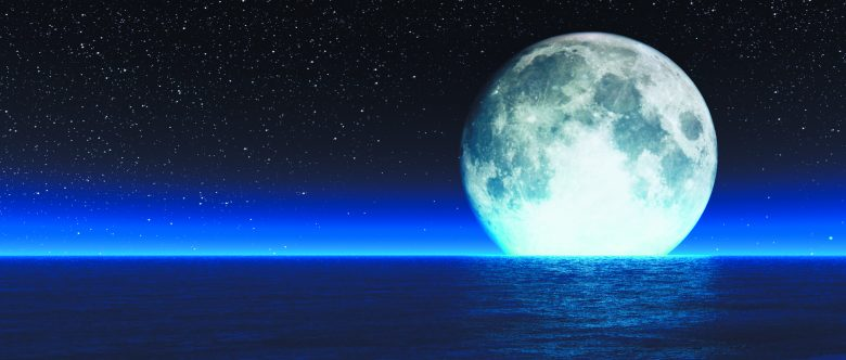 Blue moon with stars and haze reflections from wavy water. This is a 3d render illustration
