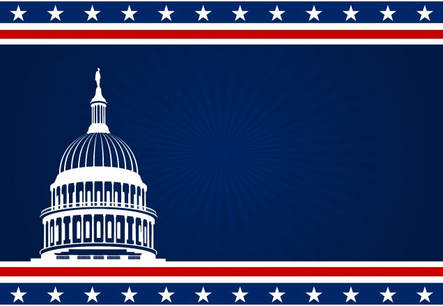 The US Capitol white shape and USA flag elements on dark blue background, with copy space available for text. The shape is created in Inkscape, layer and color effects in Photoshop.
