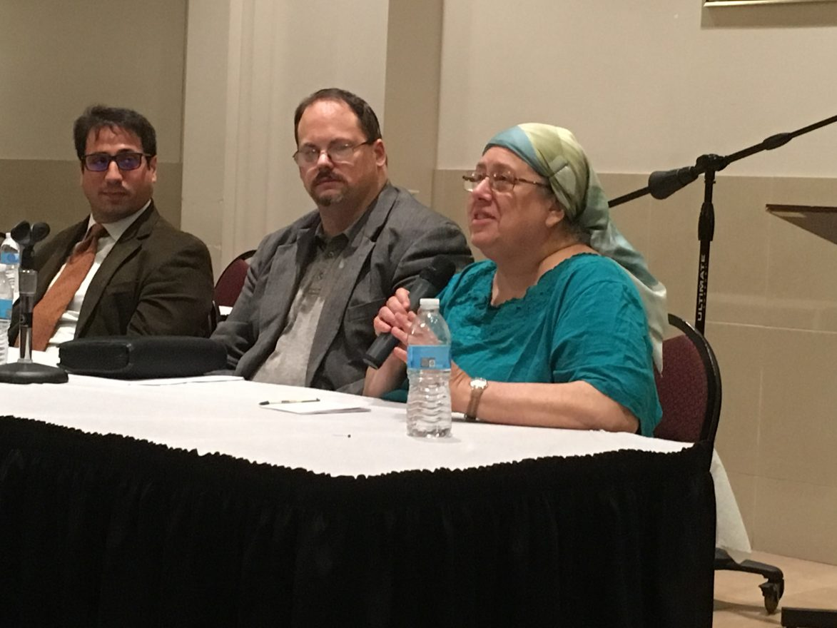 Rabbi Brent Gutmann and Marilyn Finkelman participated in a panel moderated by the Rev. Charles Packer of Pine Hill Congregational Church in West Bloomfield.