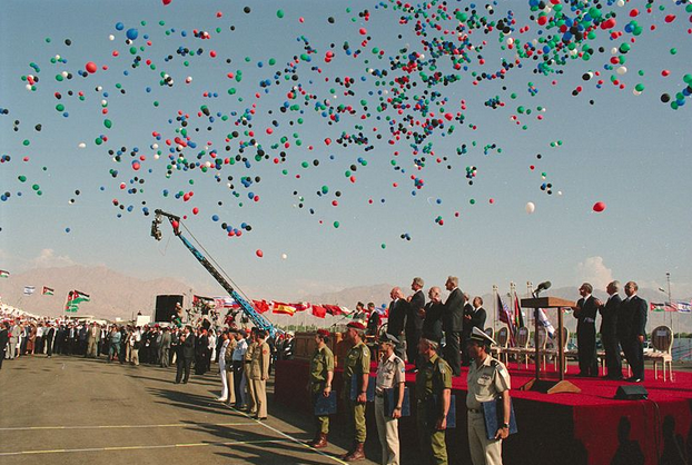 Celebration after the peace treaty is signed between Israel and Jordan in 1994