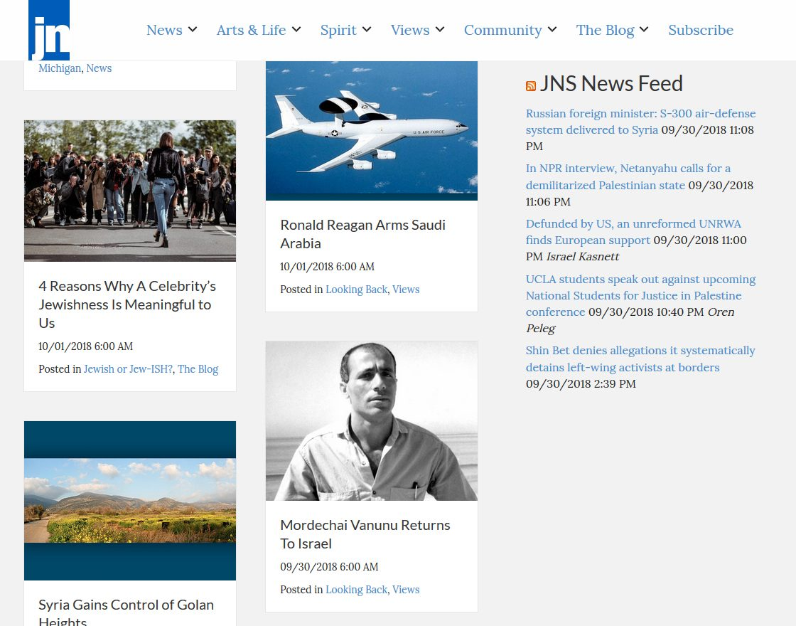 Screenshot of this website, showing how viewers can keep up with news through the JNS News Feed on the website.