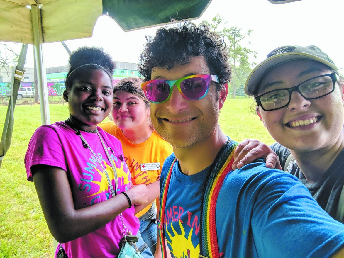 Ben Falik with some kids from Summer in the City in Detroit