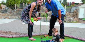 Megan, Bradyn and Bryan Lubaway of Royal Oak at the Mini Golf Classic.