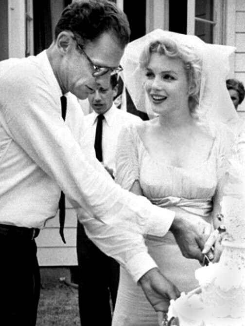 Marilyn Monroe and Arthur Miller at their wedding.