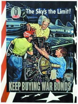 "Rosie the Riveter at work with two men in a poster by Beverly Neumann that reads ""the Sky's the limit! Keep Buying War Bonds"""
