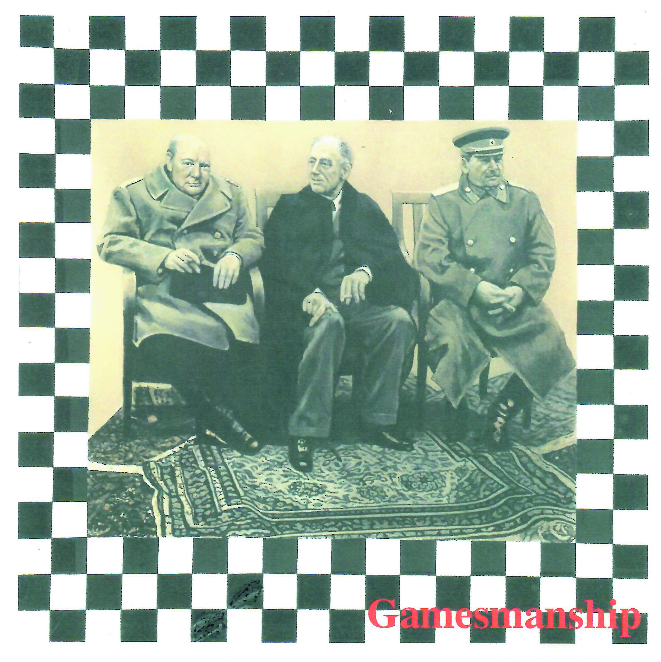 "Winston Churchill, Franklin Roosevelt and Joseph Stalin sit by an ornate carpet in a checkered frame in a piece by Beverly Neumann called ""Gamesmanship"""