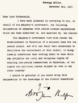 Arthur Balfour's letter conveys the news to Lord Rothschild that the British government supports the creation of a Jewish homeland in Palestine.
