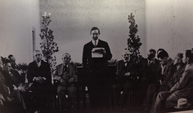 Hebrew University President Judah Magnes delivers his year-opening speech Nov. 5, 1933.