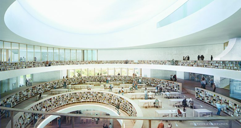 "An architectural rendering of the National Library of Israel being built in Jerusalem near the Knesset; a special room designed by the late Irwin ""Toby"" Holtzman of Bloomfield Hills will hold his massive collection of Israeli literature."