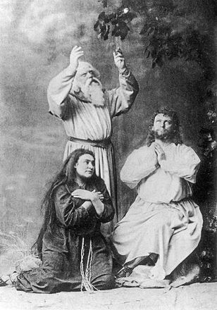 Amalie Materna, Emil Scaria and Hermann Winkelmann (right) in the 1882 premiere production of Parsifal in Bayreuth, 1882