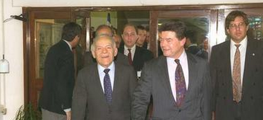 Prime Minister Yitzhak Shamir (left) receiving Foreign Minister Boris Pankin in Jerusalem on October 18, 1991.