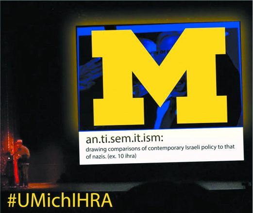 Senior Alexa Smith, a graphic arts student in U-M's Stamps School of Art & Design, created her own image to counter the anti-Semitic depiction that offended her at a mandatory art lecture series. She spoke to U-M administrators about the university adopting the International Holocaust Remembrance Alliance (IHRA) definition of anti-Semitism.