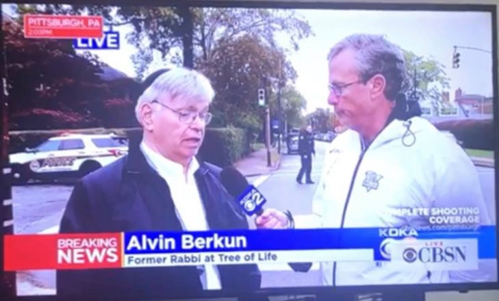 Alvin Berkun, rabbi emeritus at Tree of Life Synagogue in PIttsburgh talks with the media.
