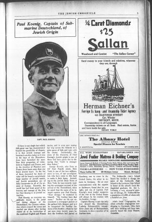 Aug. 4, 1916 issue of the Detroit Jewish Chronicle praising the adventures of Paul Koenig, captain of the German submarine Deutschland in World War I.