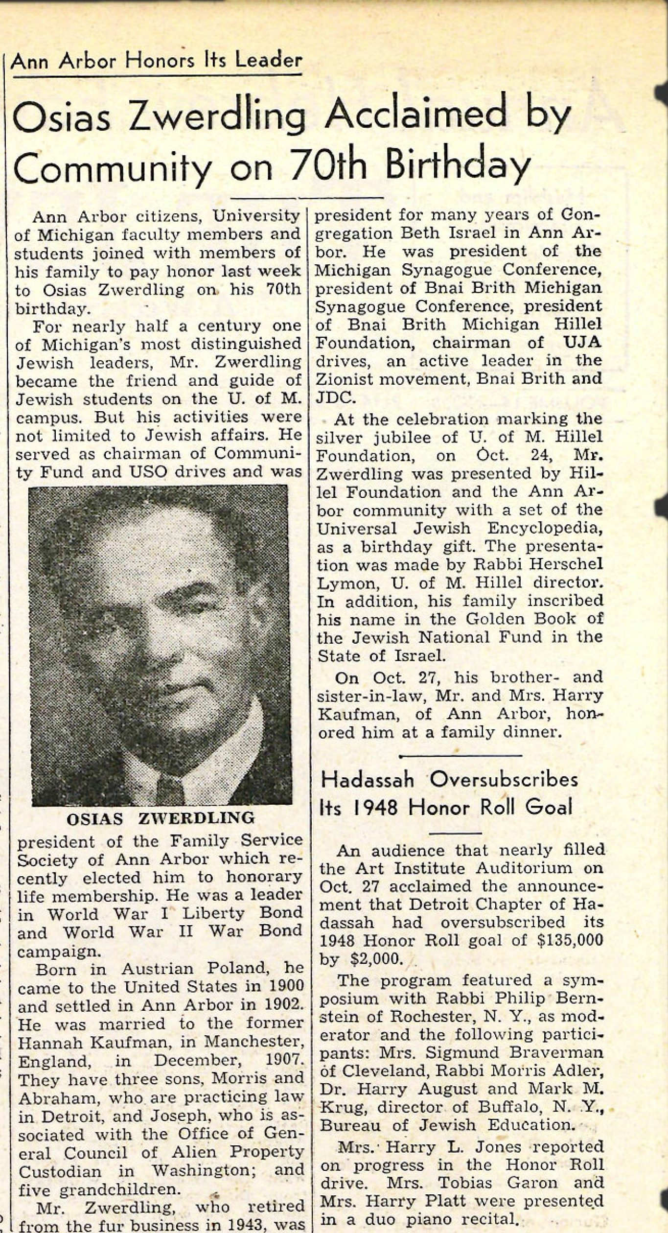 Osias Zwerdling in the Nov. 5, 1948, issue of the JN that reported that Zwerdling's friends, citizens of Ann Arbor, and University of Michigan faculty and students were celebrating his 70th birthday.