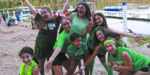 Girls from the Green Team show their spirit.