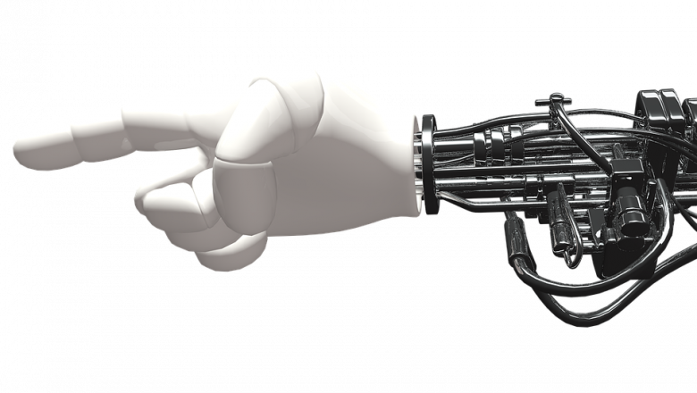 robotic arm and hand with a pointer finger extended