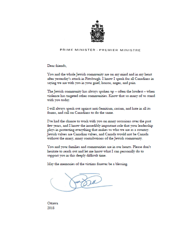 A letter from Canadian Prime Minister Justin Trudeau to the Jewish community.