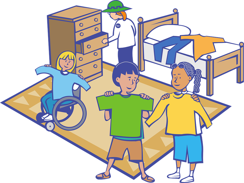 illustration of kids at camp with a counselor in the background near a bed opening a drawer. The kids hold up shirts to show what they're wearing that day. One child is in a wheel chair and the other two stand by her side.