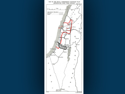 Image of the map of Palestine showing the proposed separation of Palestine in the Resolutions of the Inter-Parliamentary Congress.