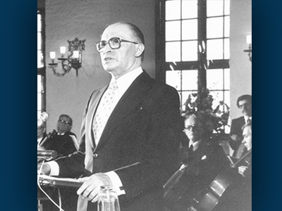 Menachem Begin delivering his acceptance speech on December 10, 1978