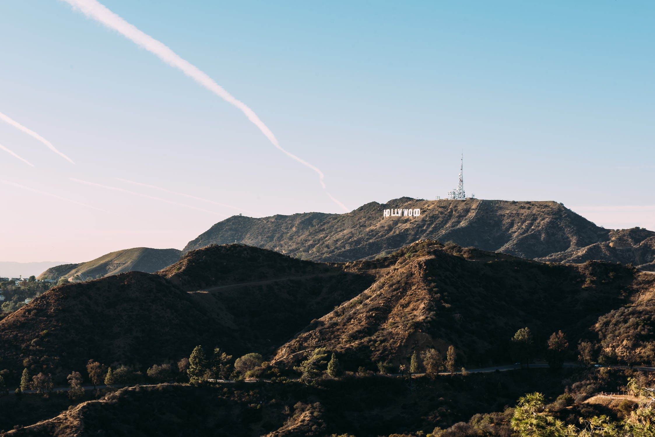 Hollywood sign on the mountains