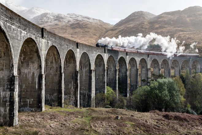 Bridge and train from Harry Potter