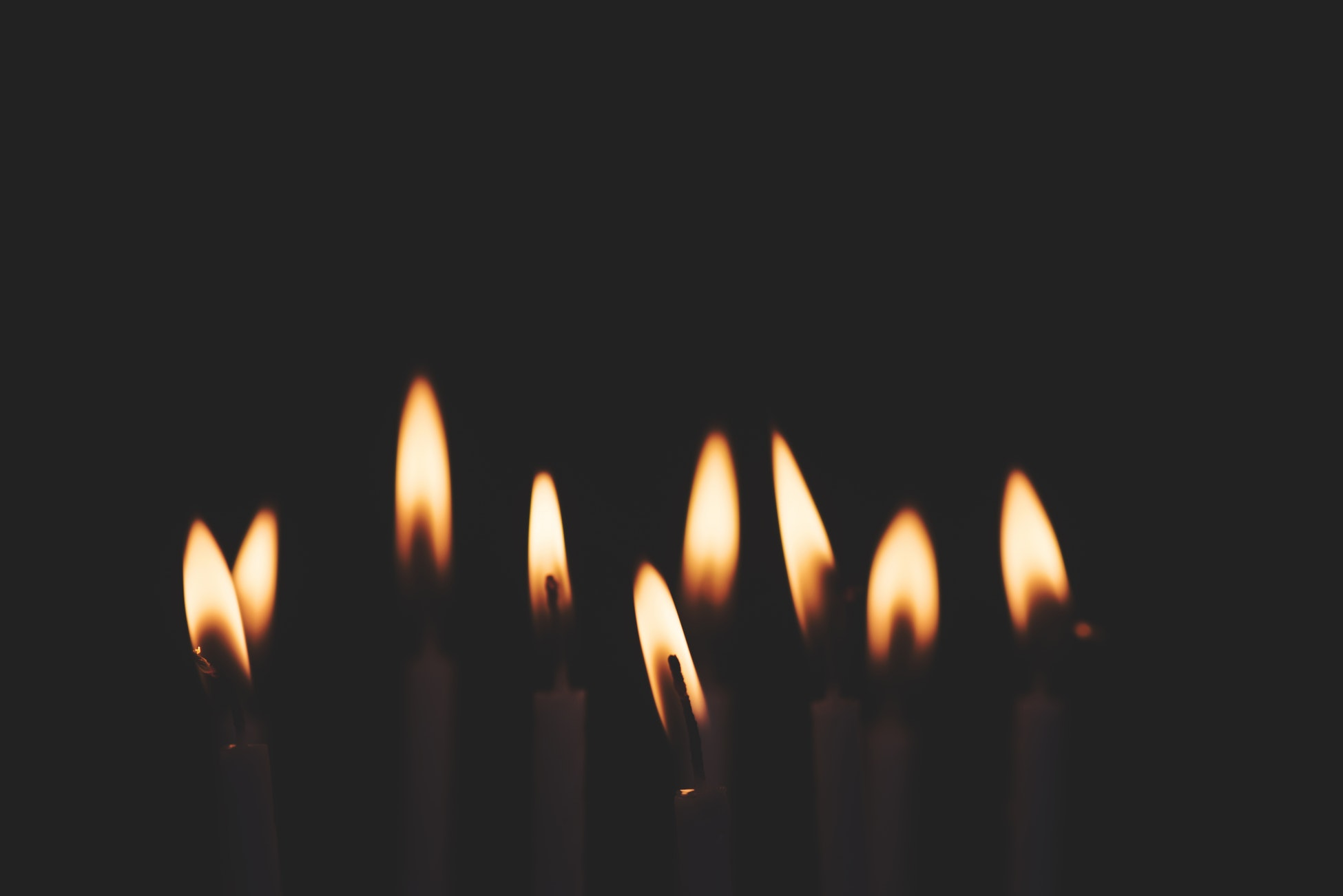 candles with flames.