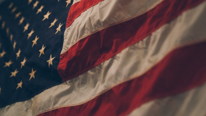 close-up photo of the American flag