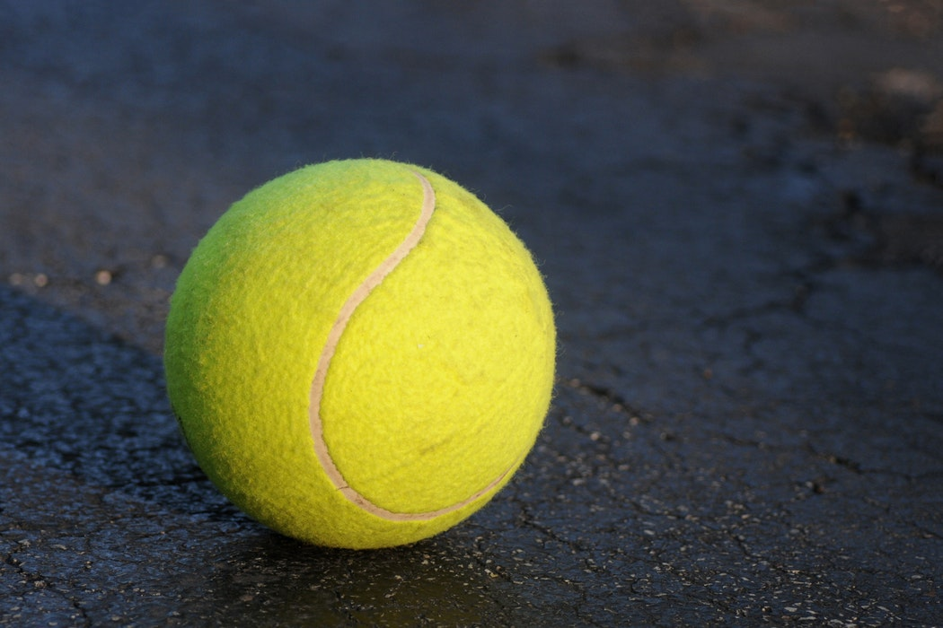 close up on a tennis ball
