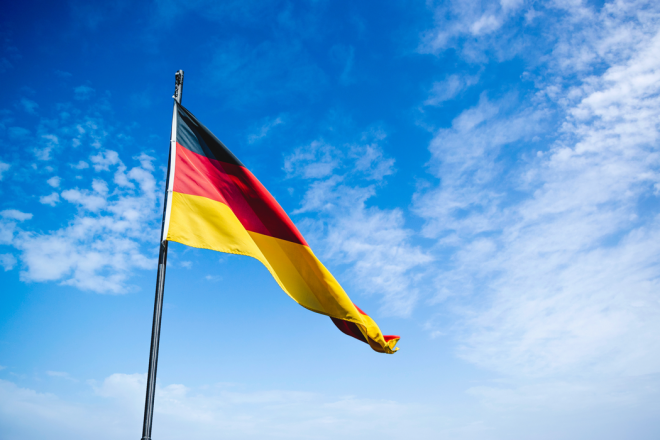 close up on a German flag waiving in the wind for Germany Close Up