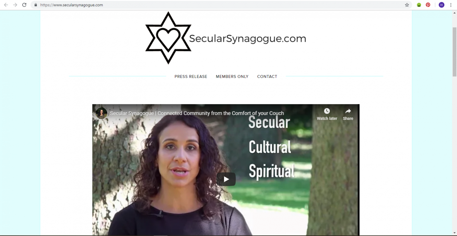 SecularSynagogue.com secular synagogue homepage