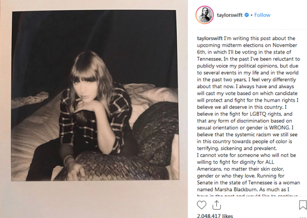 Taylor Swift's instagram post asking fans to vote in the 2018 midterm elections.