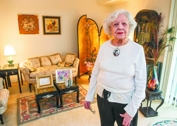 Judy Eder in her family room.