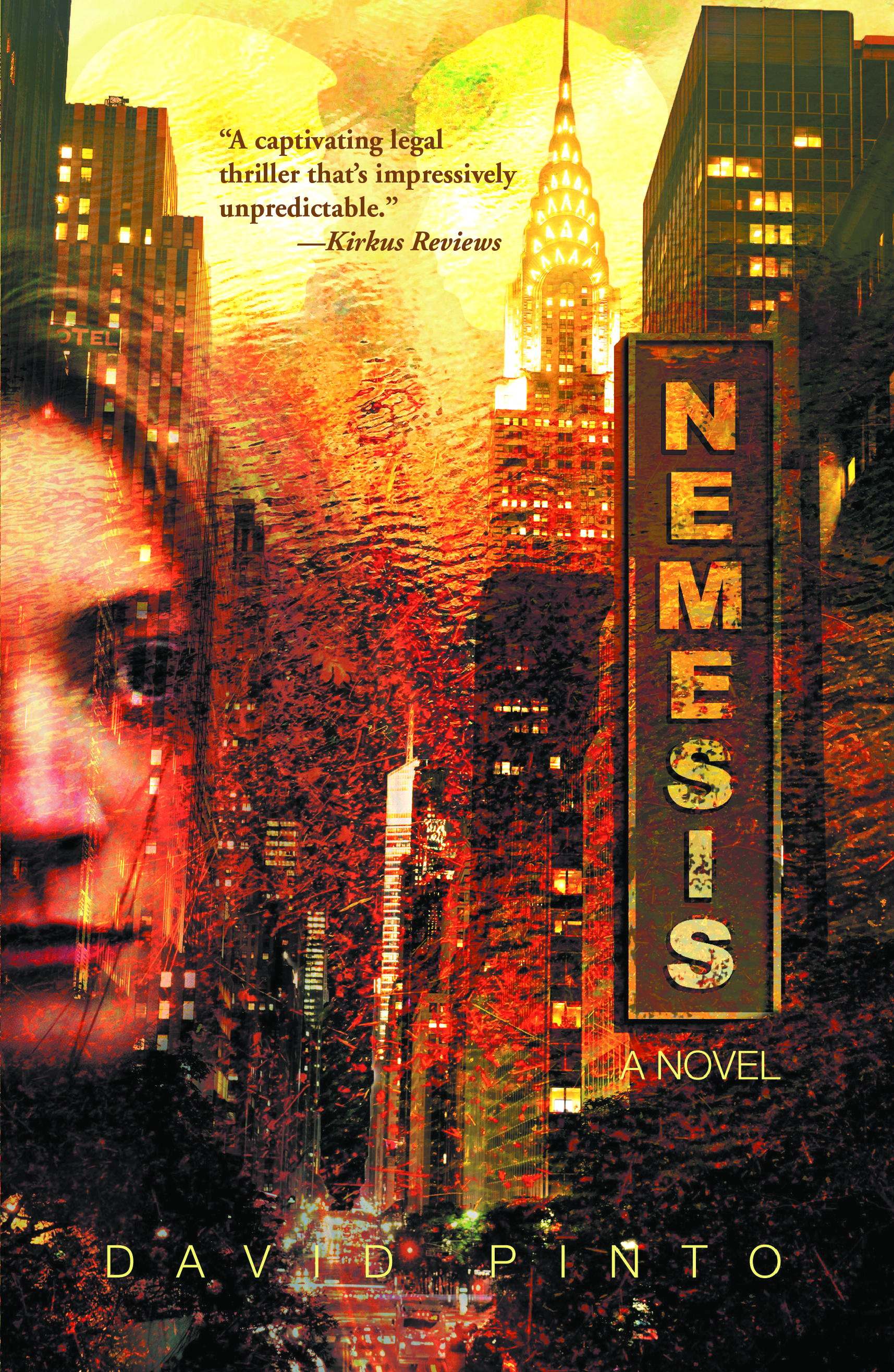 Cover of Nemesis A Nobel by David Pinto featuring a close-up on a woman's face with a New York background